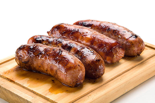 Sausage roasted on the grill. stock photo