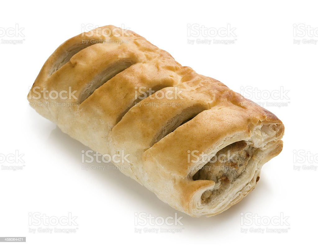 Sausage roll pastry snack with meat on a white background stock photo