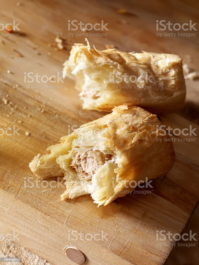 Sausage Rolls on a Cutting Board stock photo
