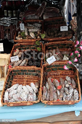 Paris, France - December 25, 2009: Sausage stall in a market in Paris for the Christmas holidays.