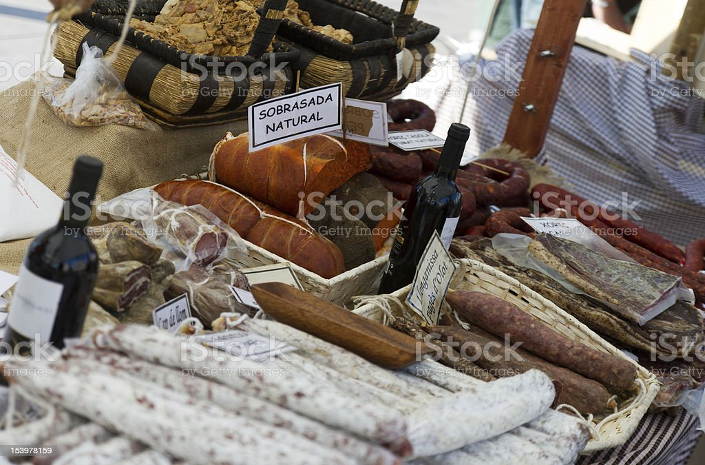 Sausage Stand in Barcelona stock photo