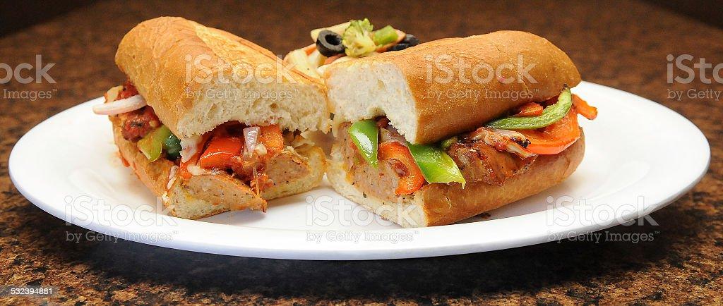 Sausage Sub Served stock photo