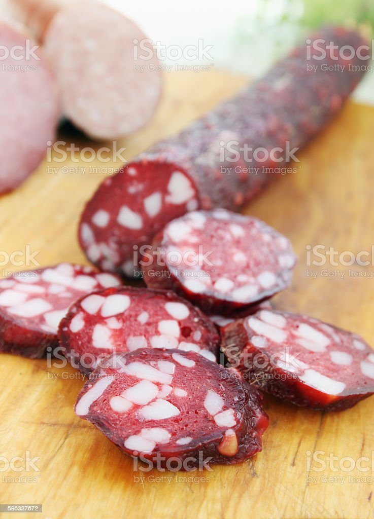sausage with bacon royalty-free stock photo