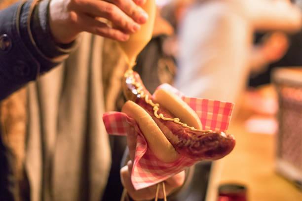 sausage_mustard stock photo