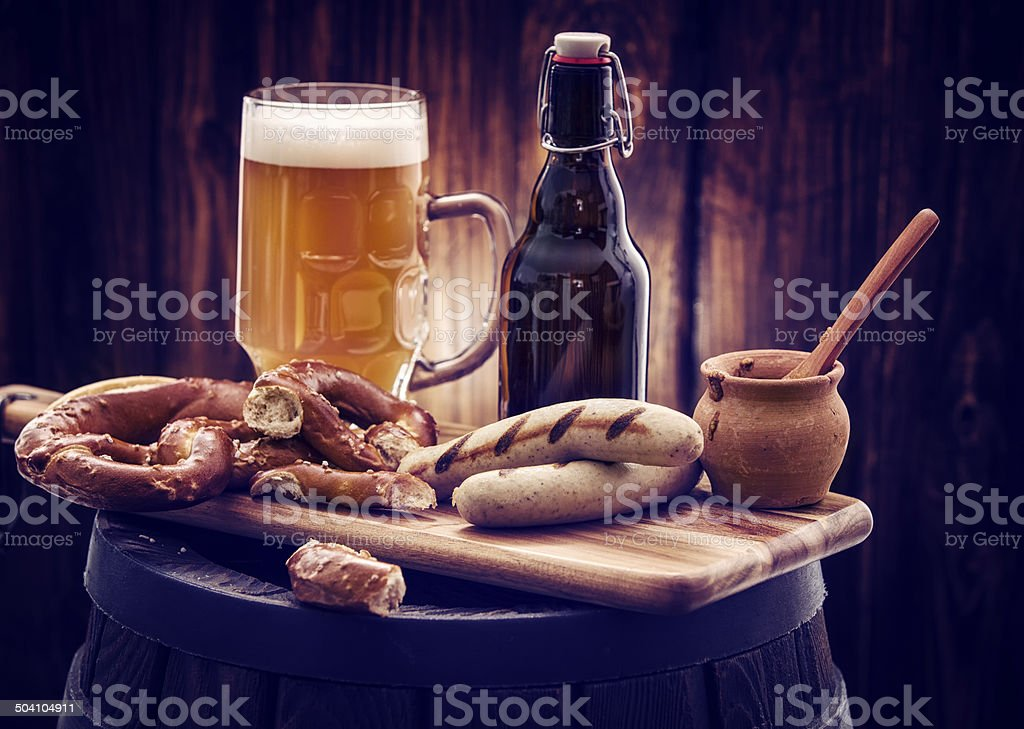 Sausages and Beer stock photo