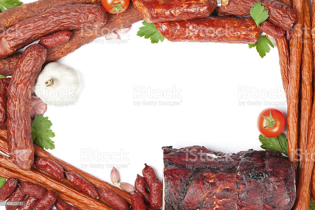 Sausages and meat royalty-free stock photo