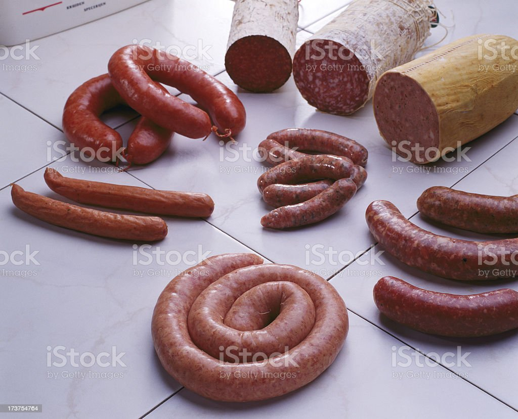 Sausages and salami royalty-free stock photo
