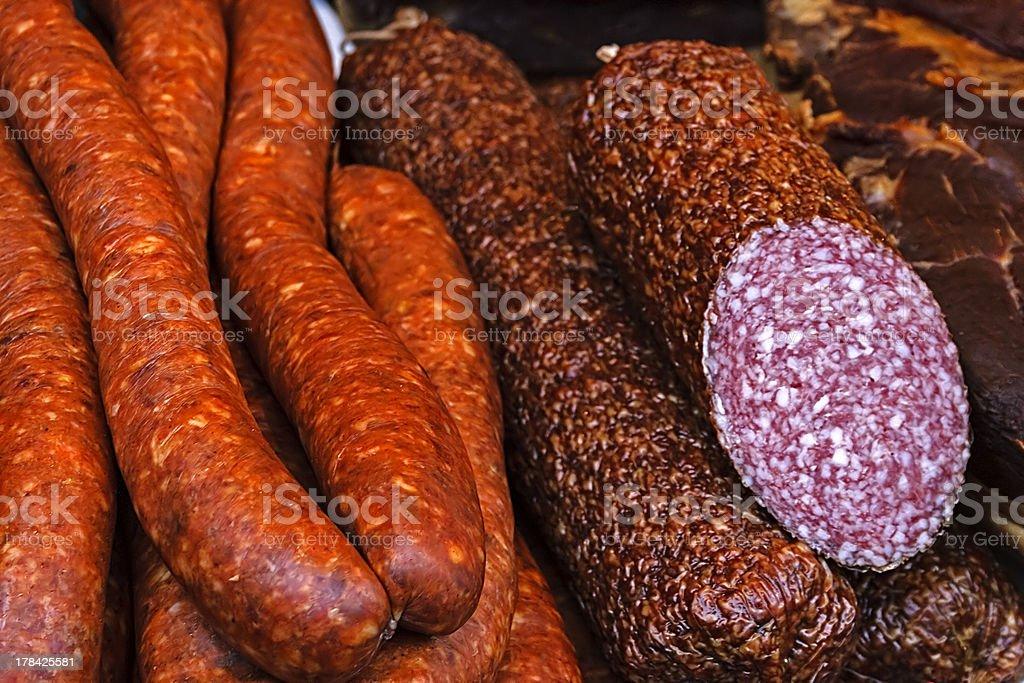 Sausages and salami royalty-free stock photo