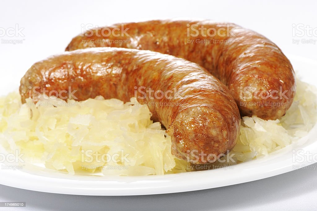 Sausages and sauerkraut royalty-free stock photo