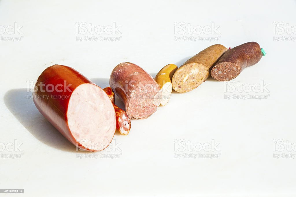 sausages handmade by the butcher stock photo