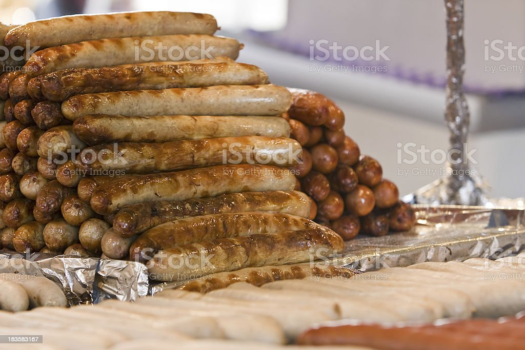 Sausages on a village dair stock photo