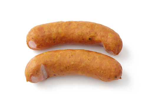 Two sausages on a white background