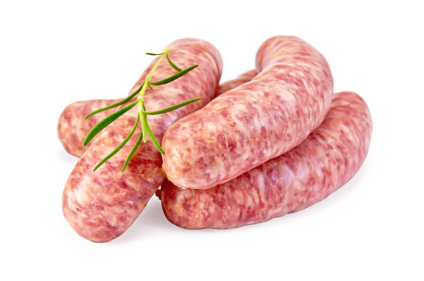 würstchen schweinefleisch mit rosmarin - wurst stock-fotos und bilder