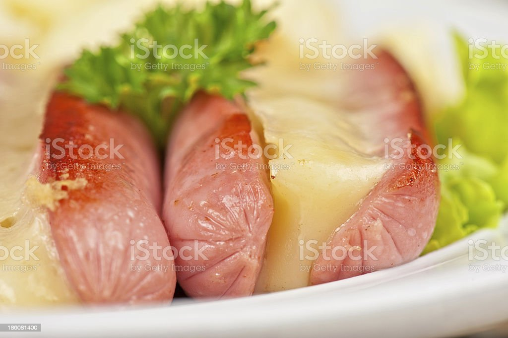 sausages with cheese and omelette royalty-free stock photo