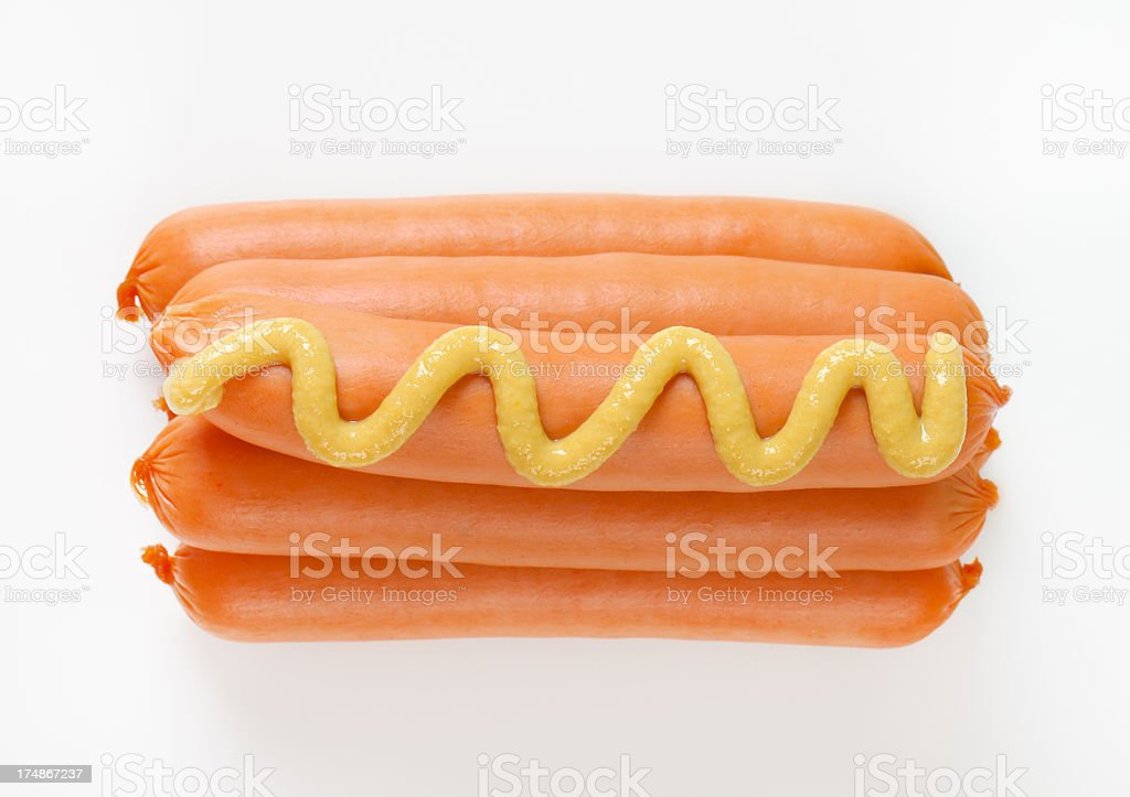 sausages with mustard royalty-free stock photo