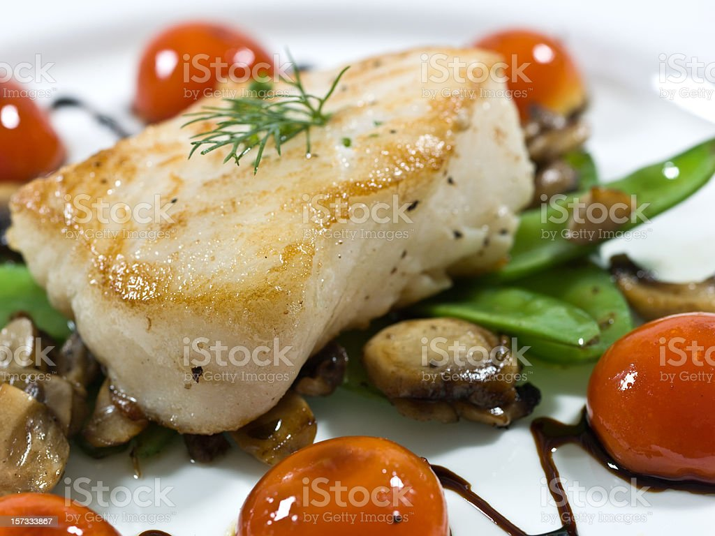 Saute fillet of seabass stock photo