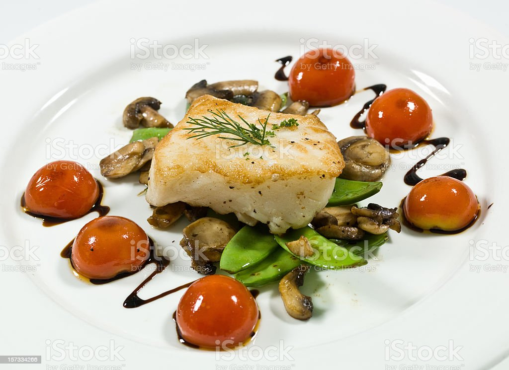 Saute fillet of seabass royalty-free stock photo