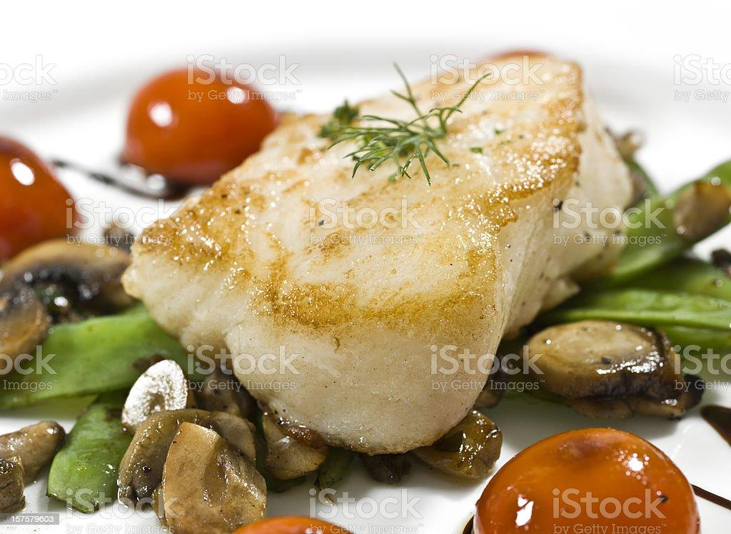 Saute fillet of seabass stock photo