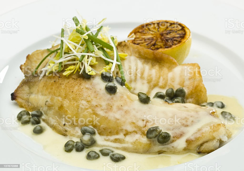 Saute fillet of tilapia with Capers Sauce stock photo