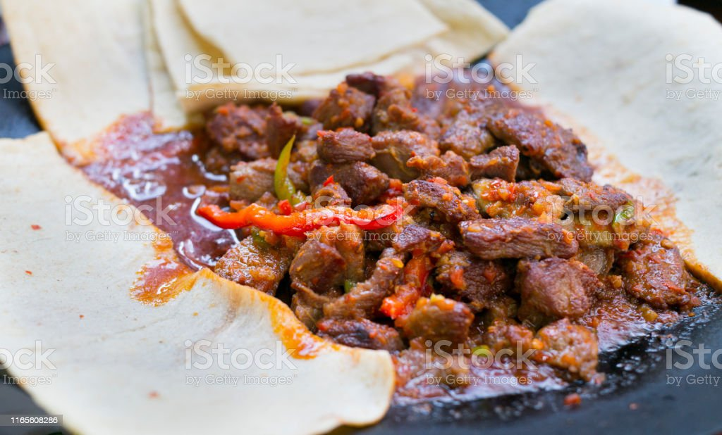saute pan-cooked meal in turkey meat. turkey meat meal in restaurant