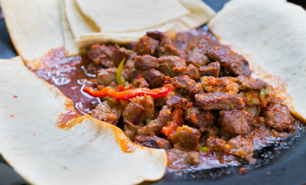 saute pan-cooked meal in turkey meat. turkey meat meal in restaurant stock photo