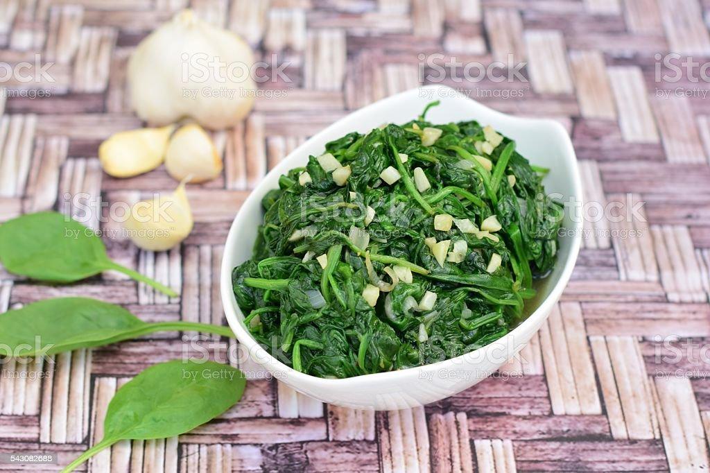 Saute spinach garlic stock photo