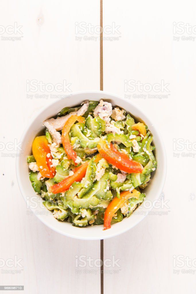 sautéed bitter melon in egg stock photo