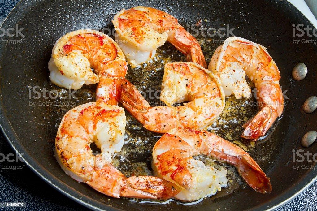 Sauted Jumbo Shrimp stock photo