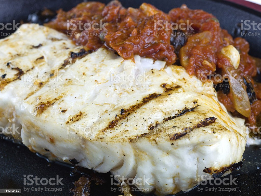 Sauteed Fillet of Halibut royalty-free stock photo