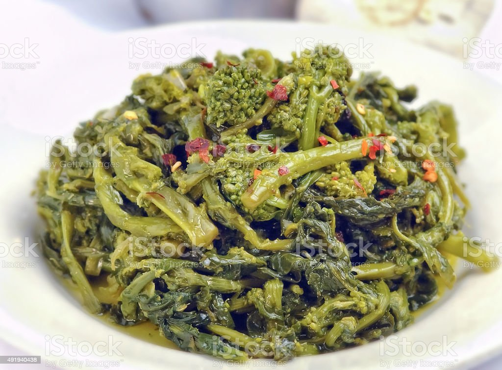 Sauteed green broccoli rabe stock photo