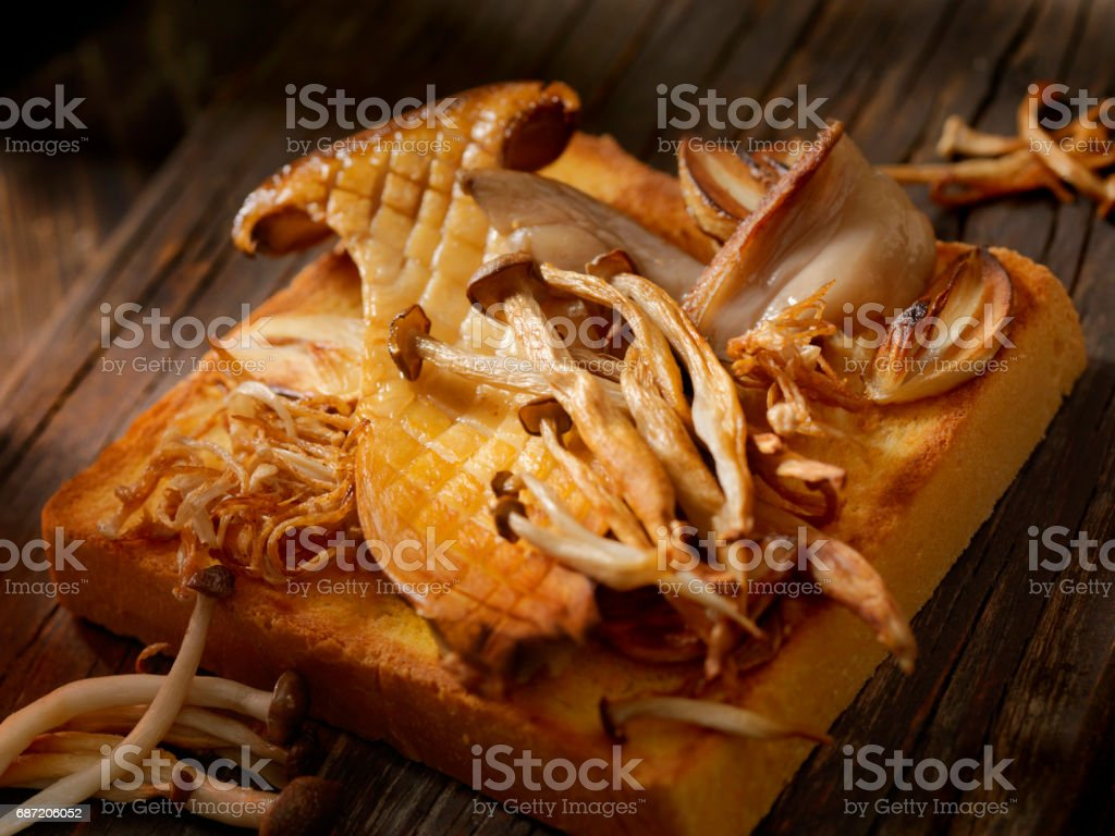 Sauteed Mushrooms on toast stock photo