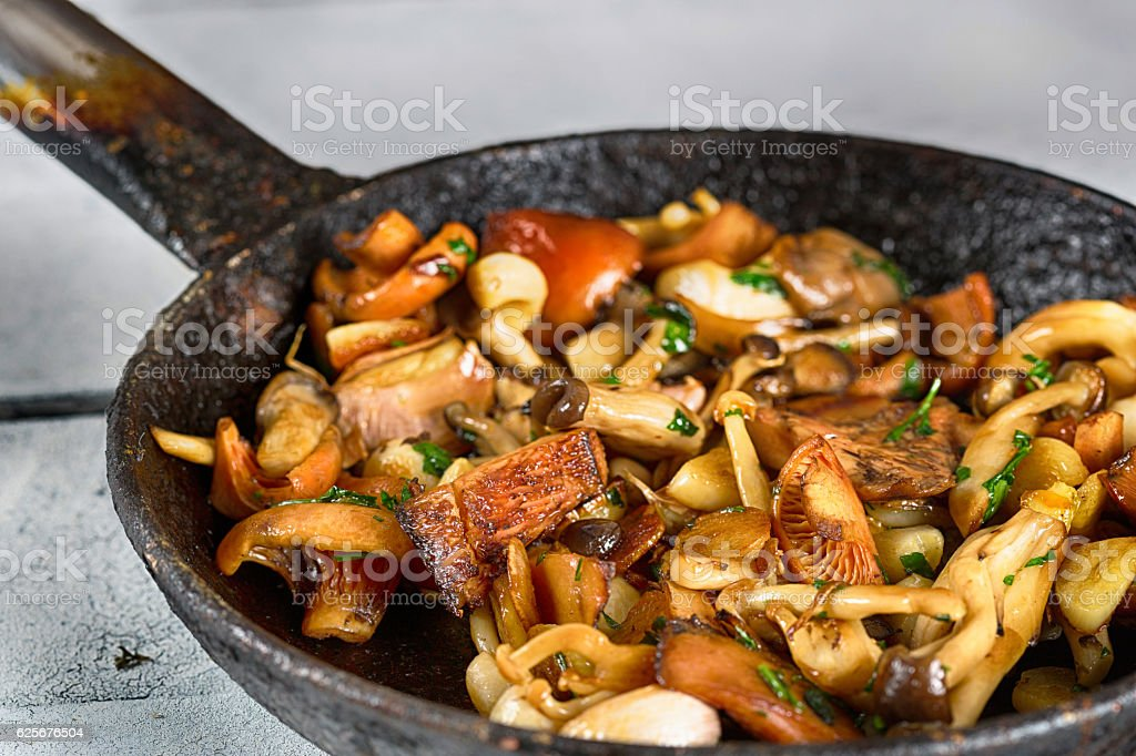 Sauteed wild mushrooms stock photo