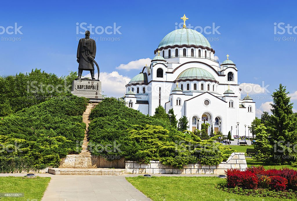 Sava Cathedral and Karadjordje statue stock photo