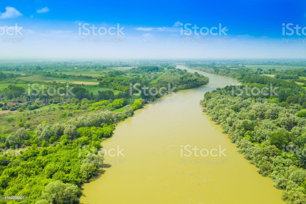 サヴァ川フロン自然公園の風景 Lonjsko ポリエクロアチア - クロアチア ...