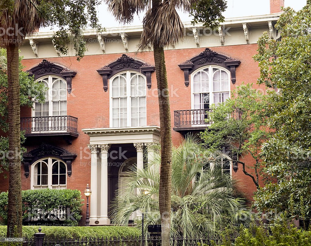 Savannah GA: Famous Old House in theHistoric District royalty-free stock photo