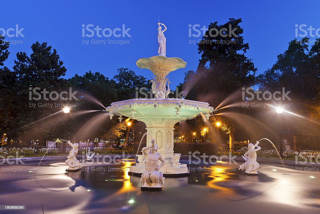 Savannah, Georgia Fountain stock photo