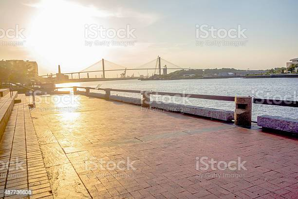 Savannah Georgia River Street Scenery Stock Photo - Download Image Now