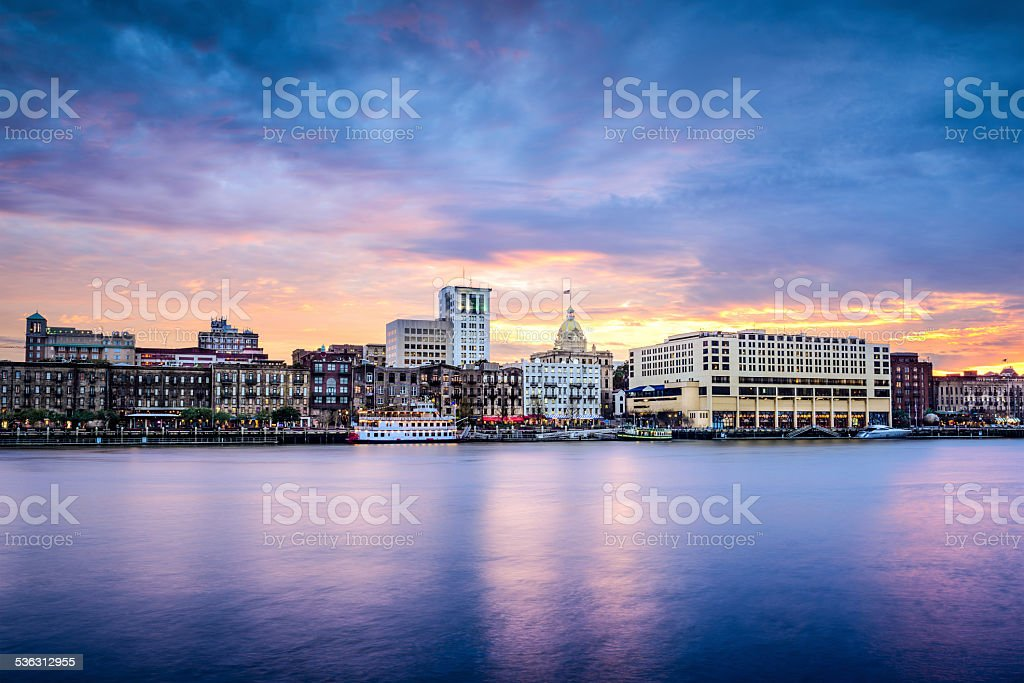 Savannah, Georgia Riverfont Skyline Savannah, Georgia, USA downtown skyline at the riverfront at dusk. 2015 Stock Photo