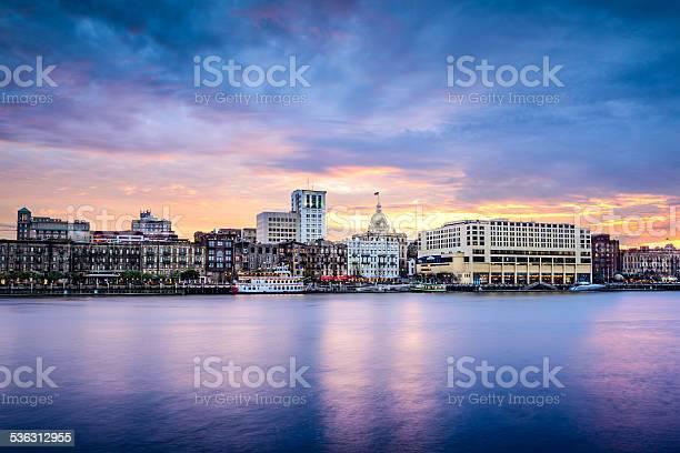 Savannah Georgia Riverfont Skyline Stock Photo - Download Image Now