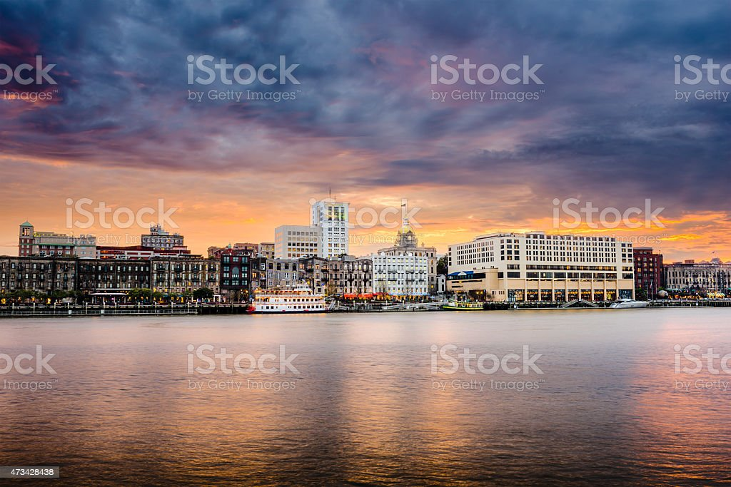 Savannah Georgia Riverfront Skyline stock photo