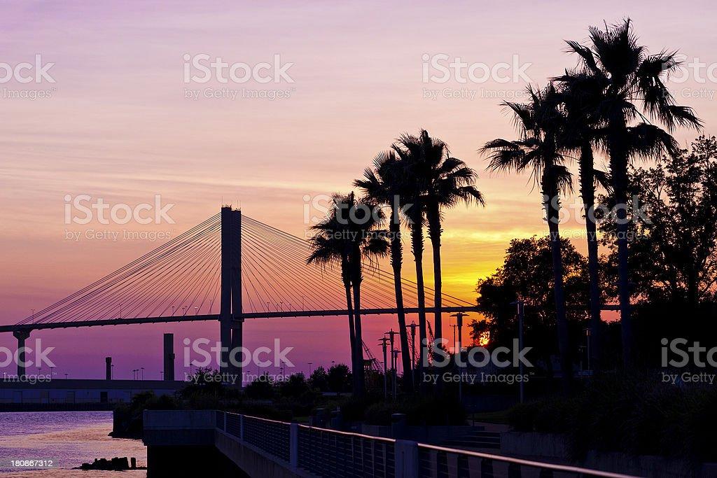 Savannah, Georgia Sunset stock photo