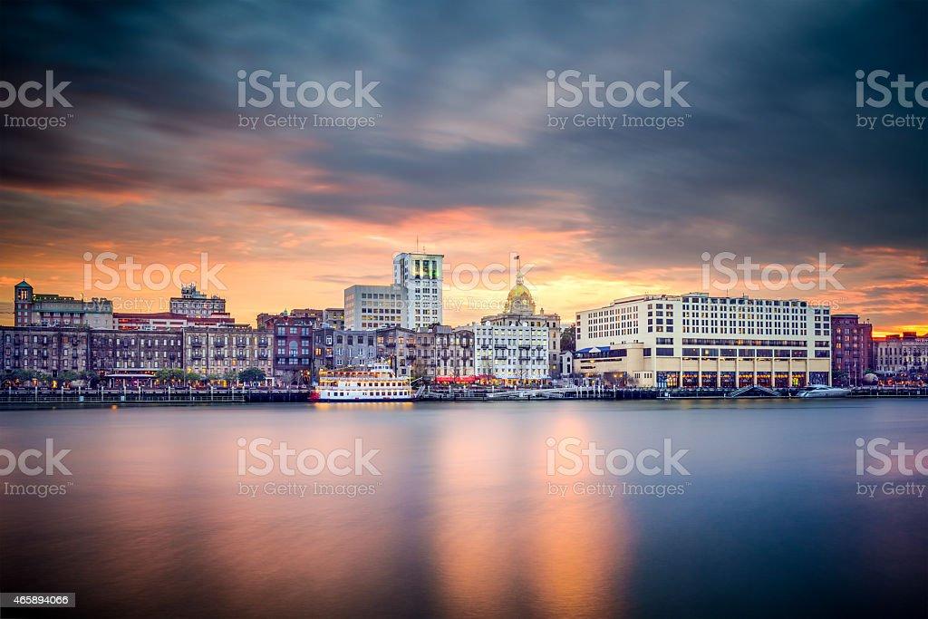 Savannah, Georgia, USA downtown Skyline stock photo