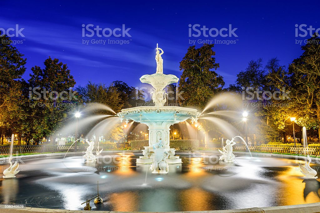 Savannah, Georgia, USA Fountain stock photo