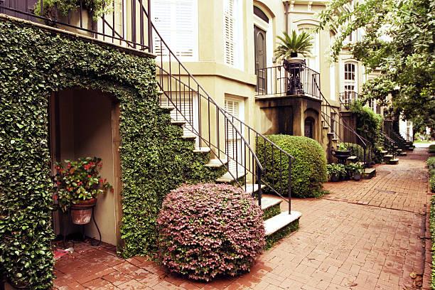 Savannah neighborhood rowhouses stock photo