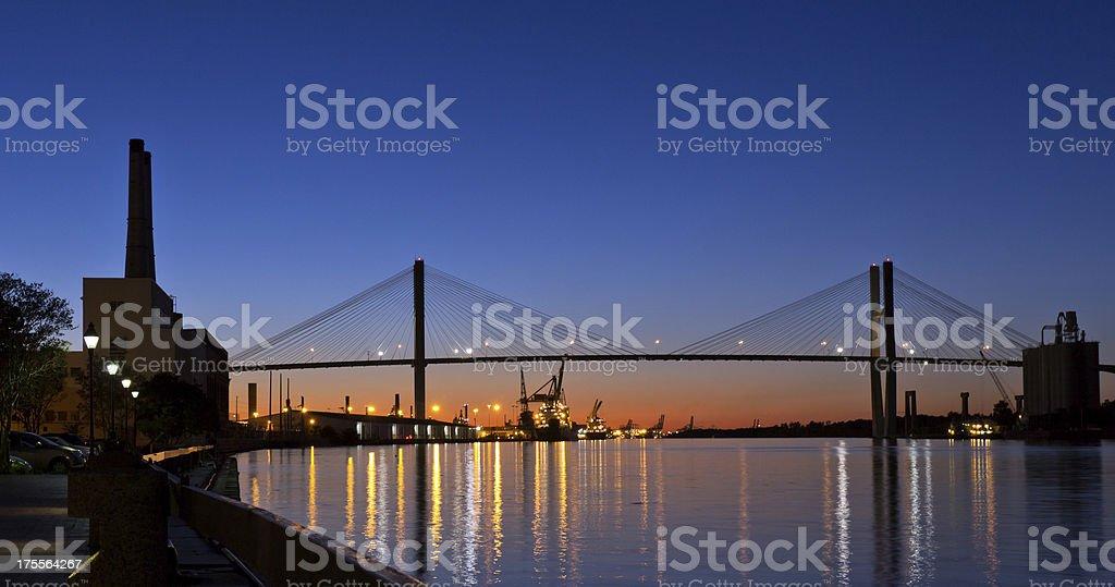 Savannah River at Night stock photo