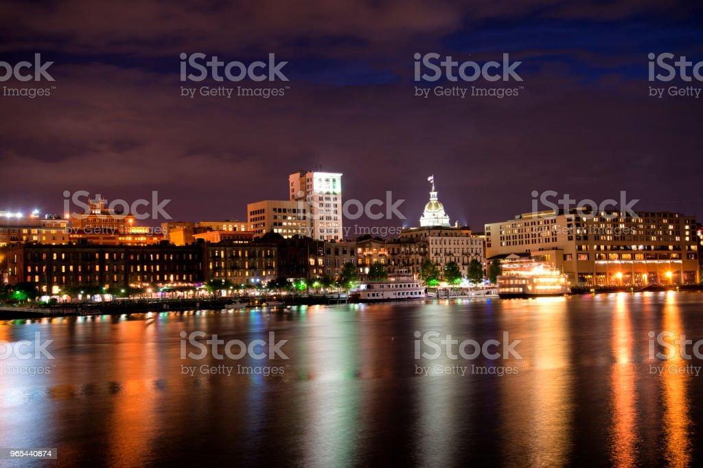 Savannah riverfront at night, Savannah, Georgia, USA royalty-free stock photo