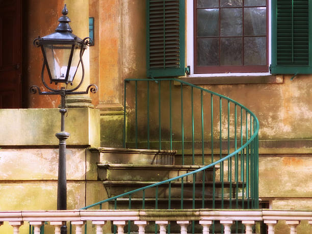 Savannah Stoop with Lamppost, Green Railing Curved Staircase stock photo