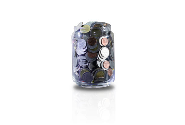 save coin to collect in the bottle and use thai currency - disbursement stock pictures, royalty-free photos & images