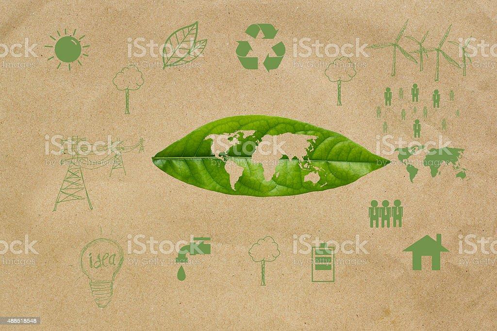Salvare il concetto di terra, icona su sfondo di carta - foto stock