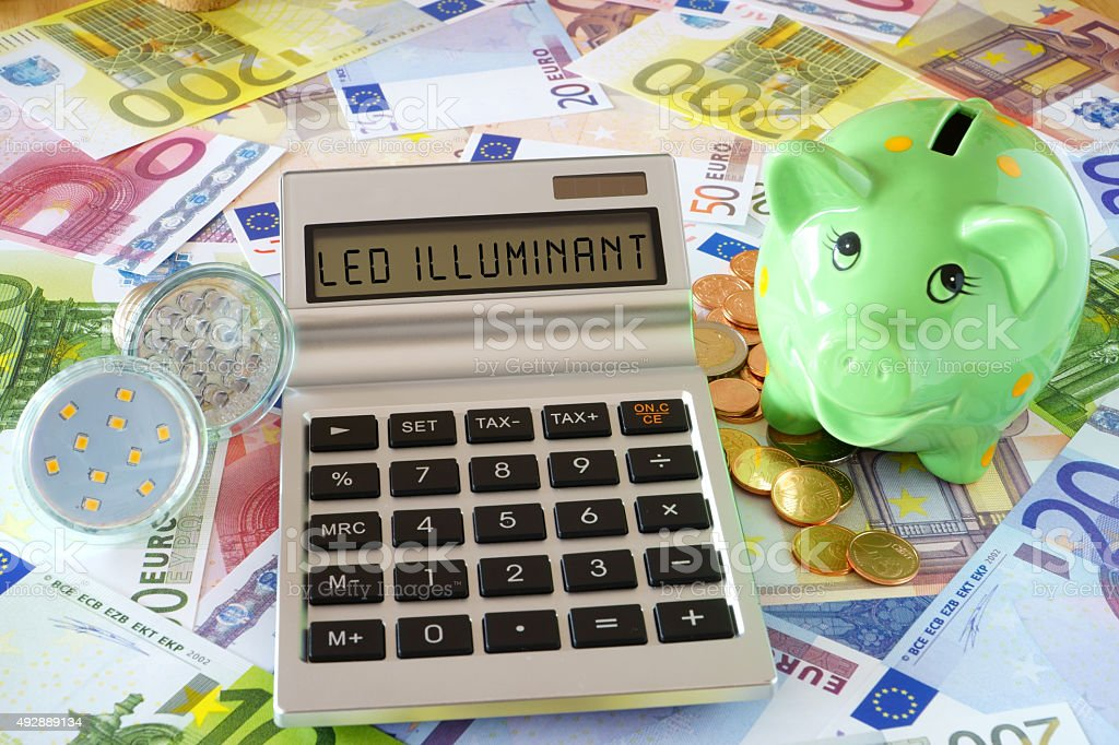 Pocket calculator with the words LED Illuminant, two LED lamps and a...